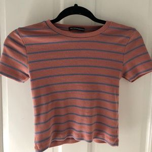 NWOT BRANDY MELVILLE PINK AND BLUE STRIPED TOP